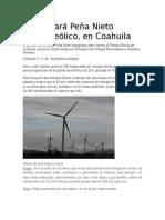 Inaugurará Peña Nieto Parque Eólico