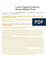Documentary and Object Evidence Under the Judicial Affidavit Rule