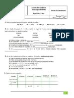 Ficha de Trabalho Equações 7º Ano- Turma I