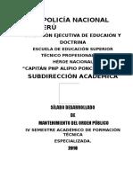 Mantenimiento Del Orden Publico IV Semestre Arreglar Con Accionar Pnp v Sem