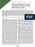 Contours of Microcredit Mannequin Socio Economic Differentials of Debtors and Non Debtors in Sierra Leone