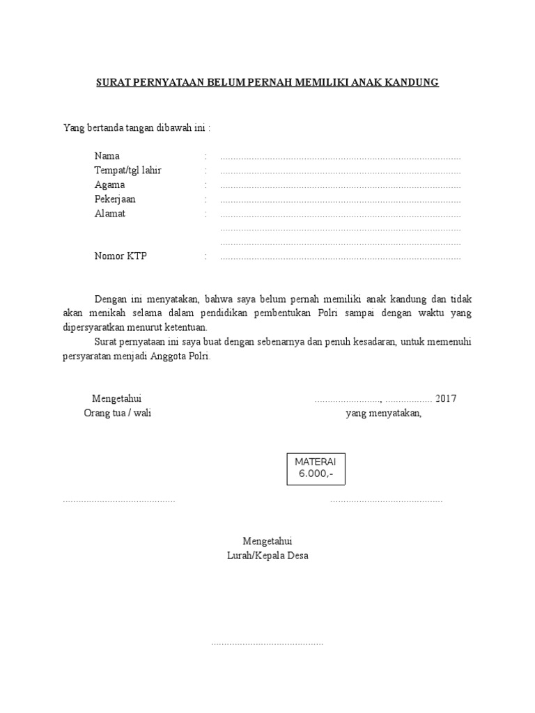 Surat Pernyataan Belum Pernah Memiliki Anak Kandung