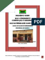Inquérito Sobre Mau Atendimento, Corrupção e Subornos Nas Maternidades Sanitárias Do Centro de Saúde de Sussundenga, Na Província de Manica
