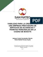 Viabilidad Para La Creación de Una Empresa de Servicios de Diligencias y Tramites Personales en La Ciudad de Bogotá