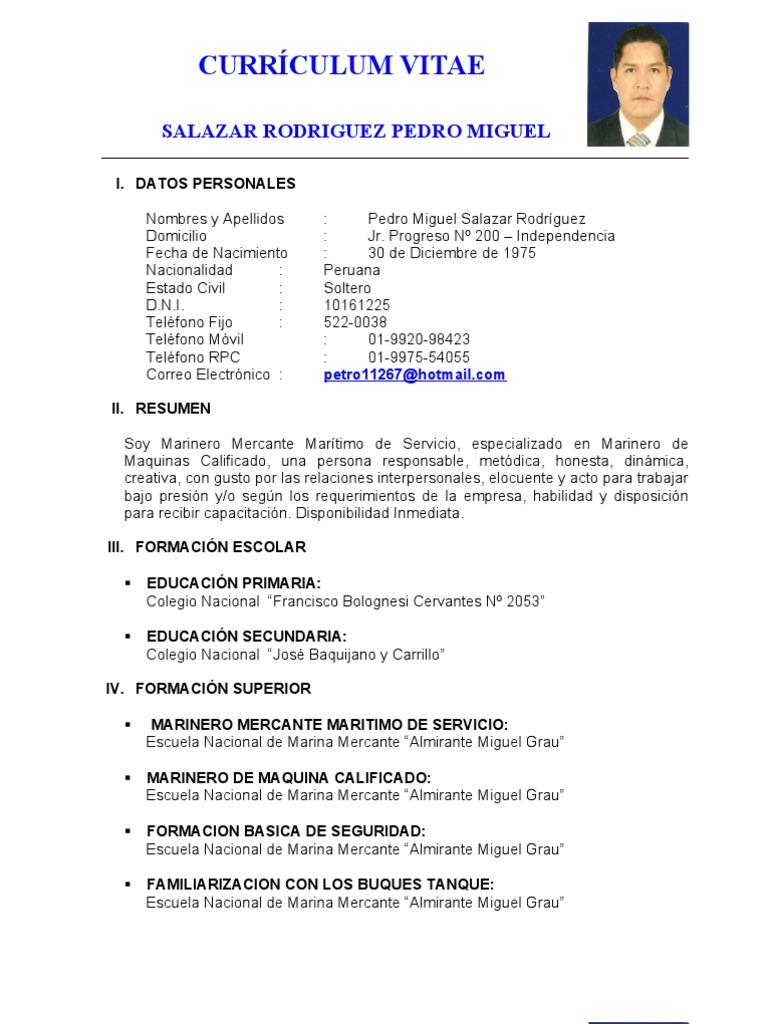Curriculum Marinero de Servicio