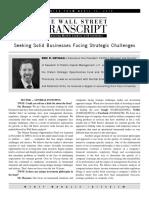 Olstein Capital Management - Seeking Solid Businesses Facing Strategic