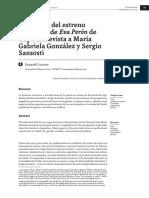 Memorias Del Estreno Argentino de Eva Peron de Copi Entrevista a Maria Gabriela Gonzalez y Sergio Sansosti