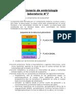 Cuestionario de embriología laboratorio N°7