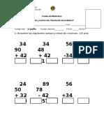 Prueba de Matemática Sumas y Restas Sin Reservas Resolución de Problemas