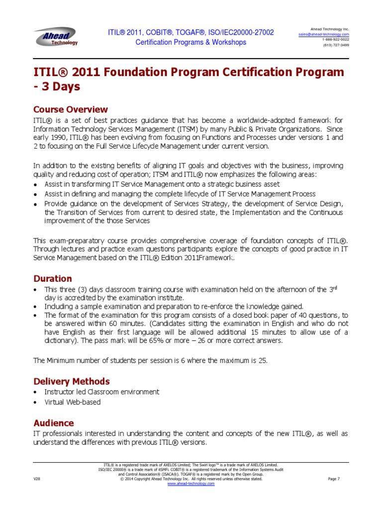 Itilfoundationprogram 3dayspdf Itil Trademark
