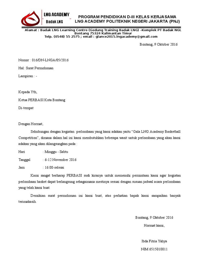Surat Permohonan Wasit