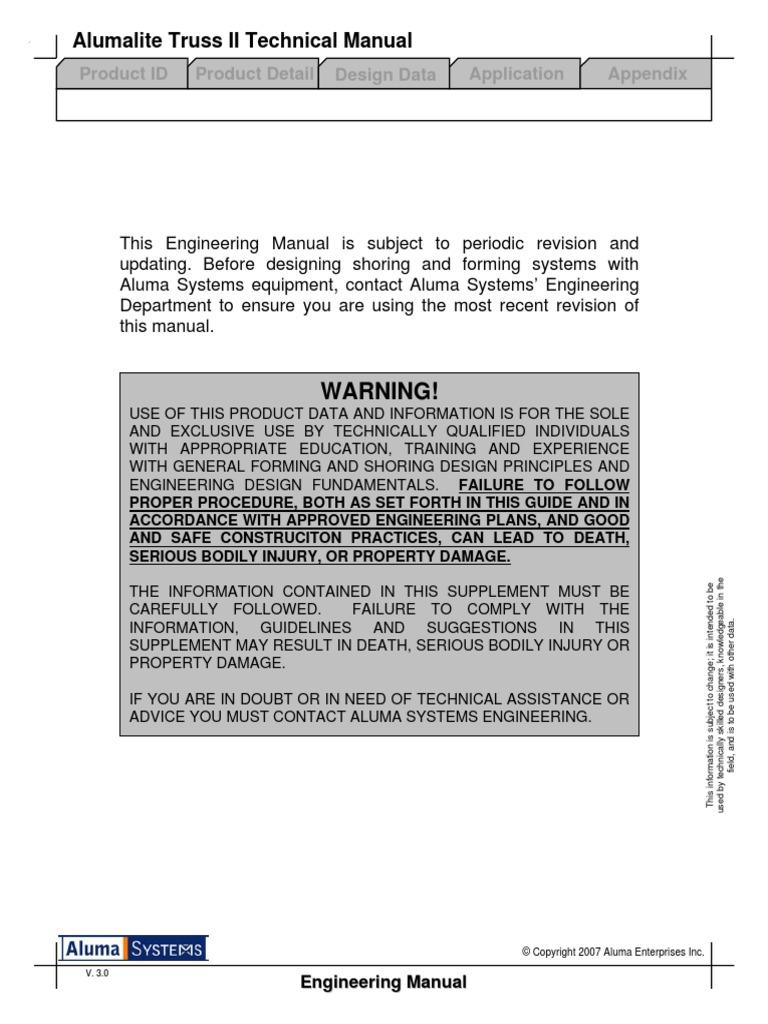 Alumalite Truss Manual Oct 24 2008 pdf   Truss   Scaffolding