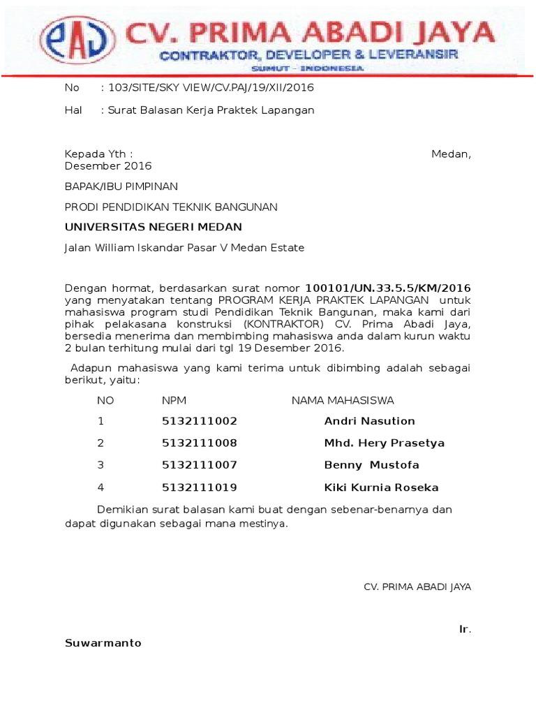 Surat Balasan Pkl Unimed Ss