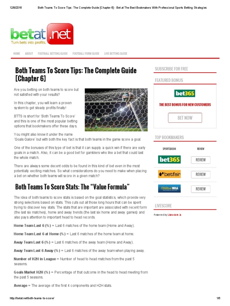 Both Teams to Score Tips_ the Complete Guide [Chapter 6] - Bet at