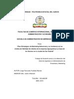 284 Plan Estratégico de Marketing Relacional y Su Incidencia en Los Niveles de Fidelidad de Clientes de La Empresa Agroquímica La Casa de Los Abonos en La Ciudad d