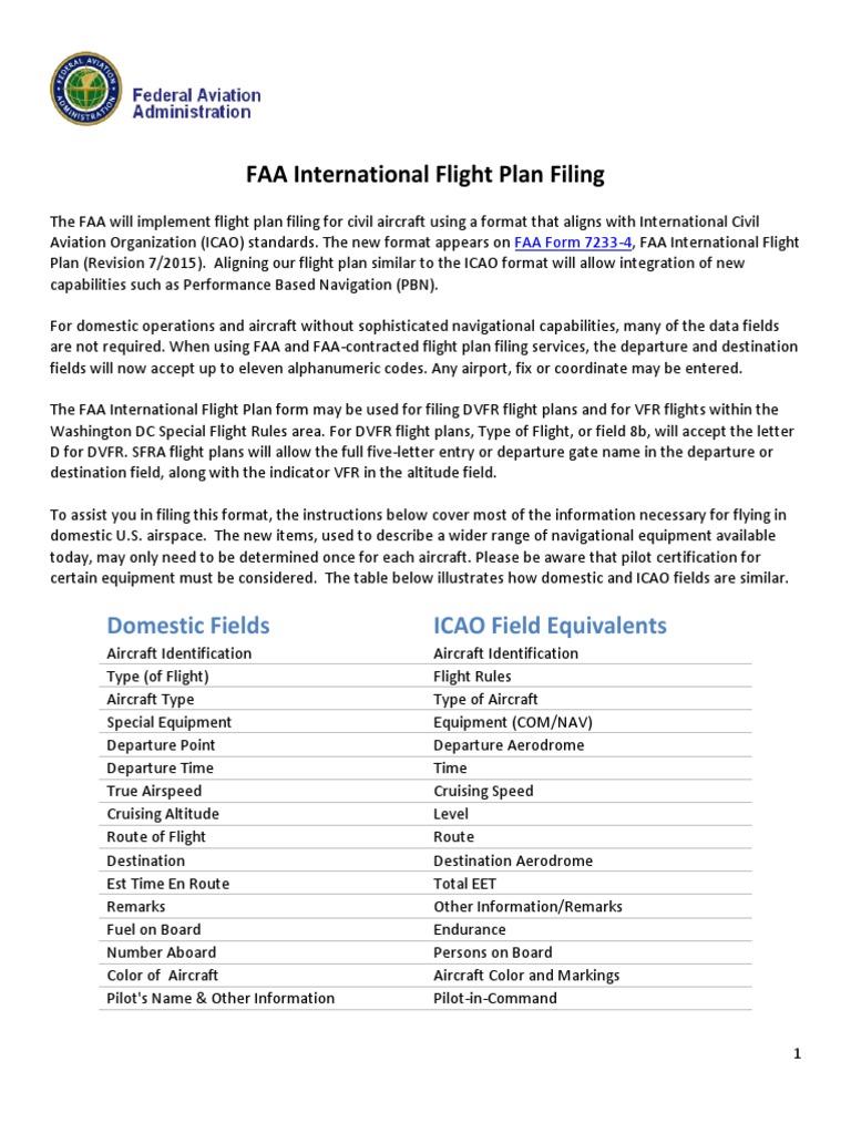 Icao Flight Plan Filing Visual Flight Rules Flight