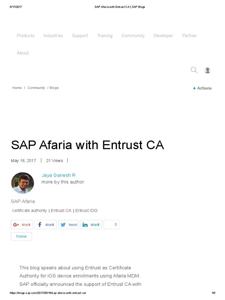 Sap Afaria With Entrust Ca