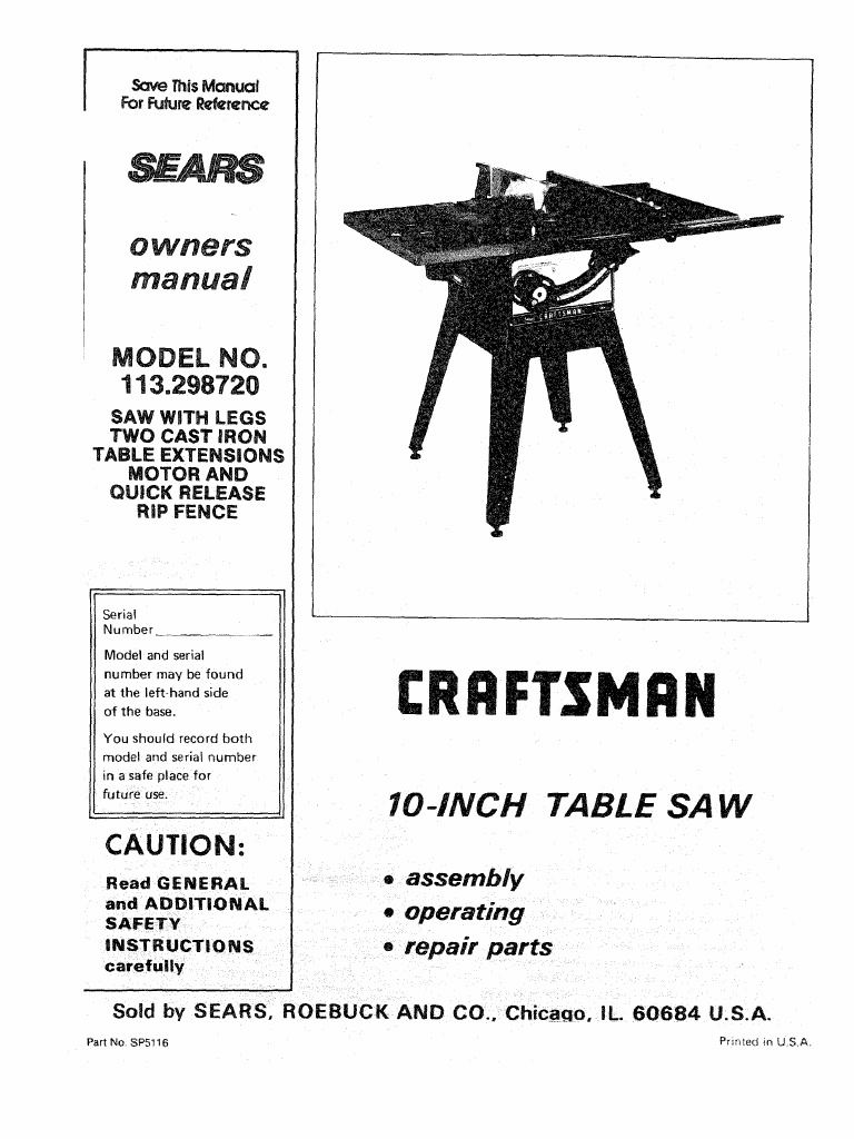 diagram, motion manual, craftsman table saw, model 113-298720 and 750 |  electrical on safety