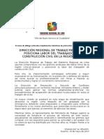 N 0717 Mesa de Dialogo Intenta Relanzar y Posicionar Labor de Trabajadores de Construcción Civil en La Región Lima