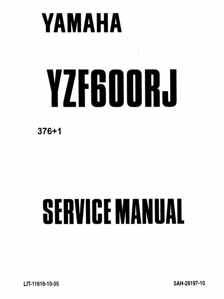 Yamaha YZF600R Thundercat 1996-2003 Service Manual