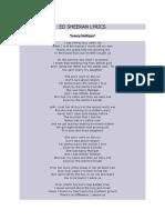 Ed Sheeran Lyrics - Nancy Mulligan