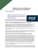 Validez y Nulidad de Los Procedimientos Administrativos Laborales Venezolanos