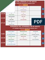 Horarios Del Sáb-dom 27 - 28 Mayo
