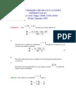 Solucion Primera Prueba Ecuaciones Diferenciales