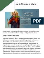 Segundo Día de la Novena a María Auxiliadora