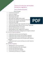 Lista Detallada de Los 33 Informes Del Análisis Cuántico de Resonancia Magnética