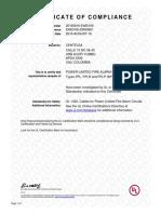Certificado e485169 Ul1424 Fpl Fplr Fplpcertificado Cable Alarma Centelsa