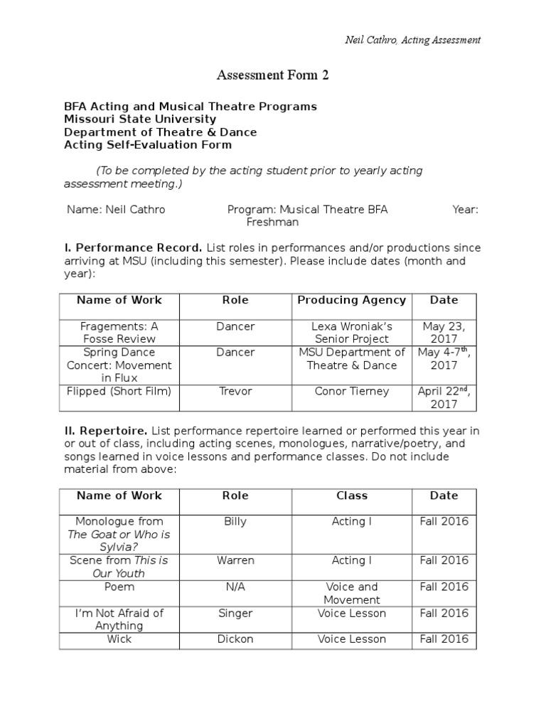 Assessment Form 2   Audition   Self Awareness