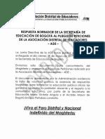 RESPUESTA BORRADOR DE LA SECRETARÍA DE EDUCACIÓN DE BOGOTÁ AL PLIEGO DE PETICIONES DE LA ADE