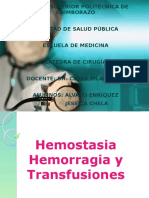 HEMOSTASIA HEMORRAGIA TRANSFUSIONES