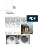 Procedimiento y Análisis Del Mortero (Tecnologia de Los Materiales)