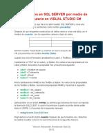 Insertar Datos en SQL SERVER Por Medio de Un Formulario en VISUAL