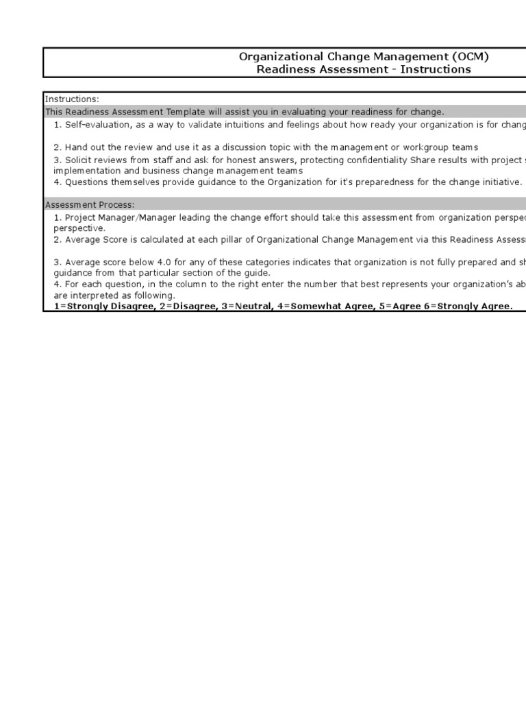 Ocm Readiness Assessmentxls Change Management Educational