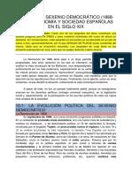 El Sexenio Democrático (1868-1874). Economía y Sociedad Españolas en El Siglo Xix