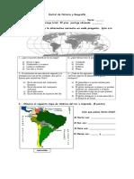 control Historia y Geografía 3° Representación de Tierra