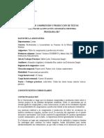 Taller de Comprensión y Producción de Textos- Programa
