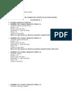 Inventario de Planos Del Proyecto de Edificacion Leidy Bautista