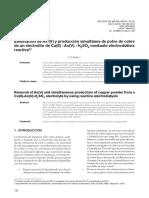 Eliminación de as (v) y Producción Simultánea de Polvo de Cobre