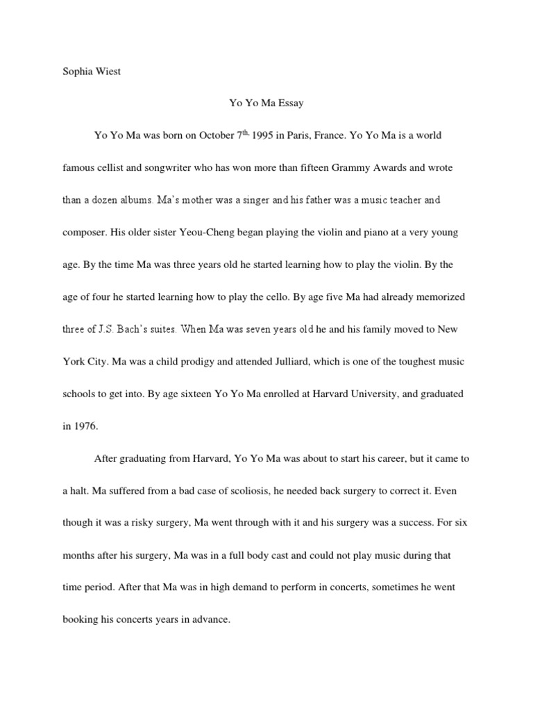 yo yo ma paper honors french 3 pdf | Classical Music