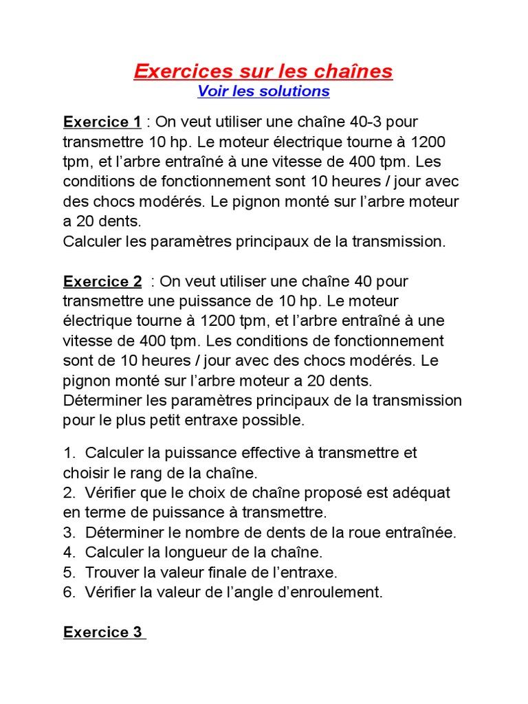 Exercices Sur Les Chaines Puissance Physique Machine