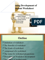 g.3. Planning Development of Student Worksheet