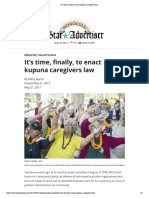 It's time, finally, to enact kupuna caregivers law 05-21-2017