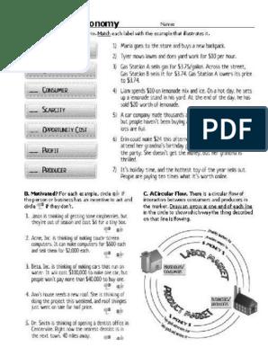 The Market Economy Worksheet Answer Key | TUTORE.ORG ...