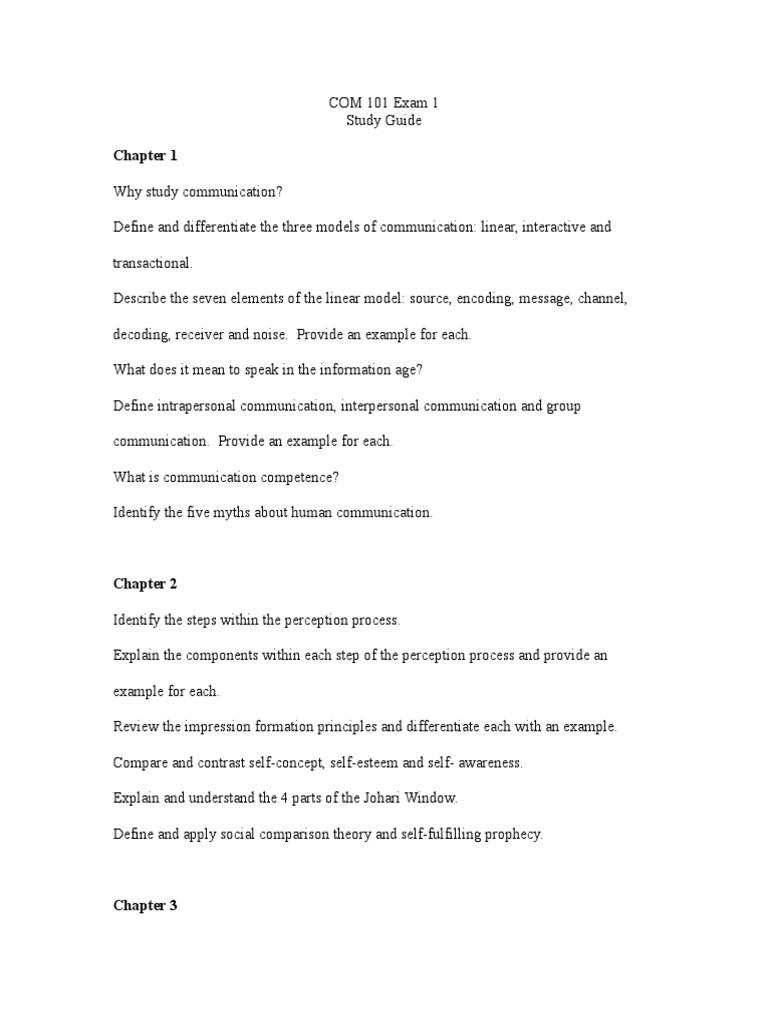 Study Guide Com 101 Exam 1cx Interpersonal Communication