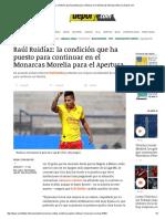 Raúl Ruidíaz_ La Condición Que Ha Puesto Para Continuar en El Monarcas Morelia _ México _ Depor