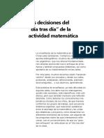 Las Decisiones Del Dia Tras Dia de La Actividad Matematica